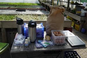 Die Verpflegung Kaffee, Lyoner und Bier.